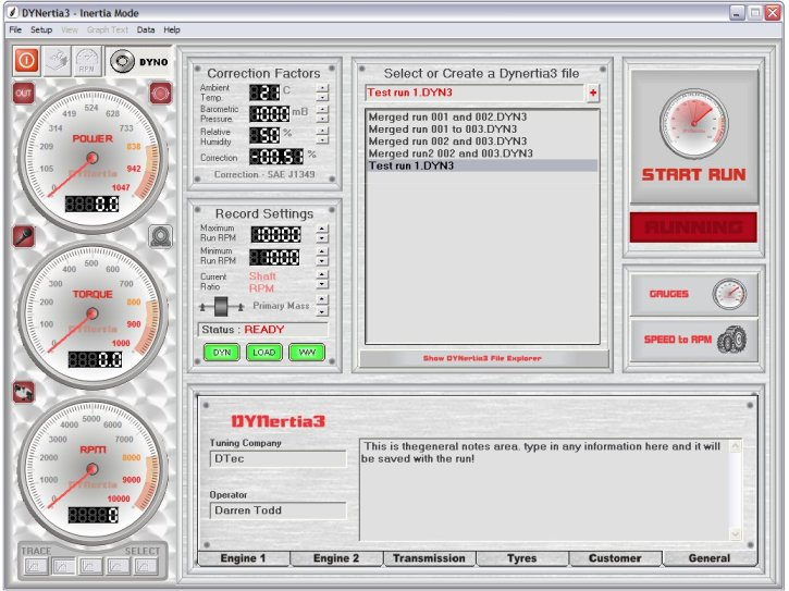Dynamometer Software - Control Screen